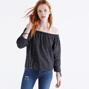 Madewell Plaid Off the shoulder Shirt sz S